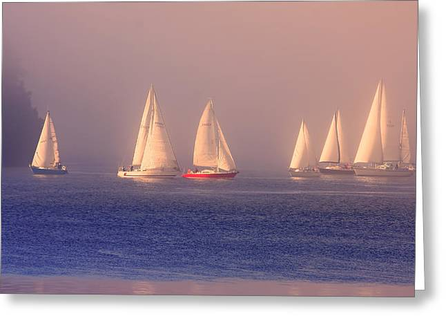 Sailing On A Misty Ocean Greeting Card