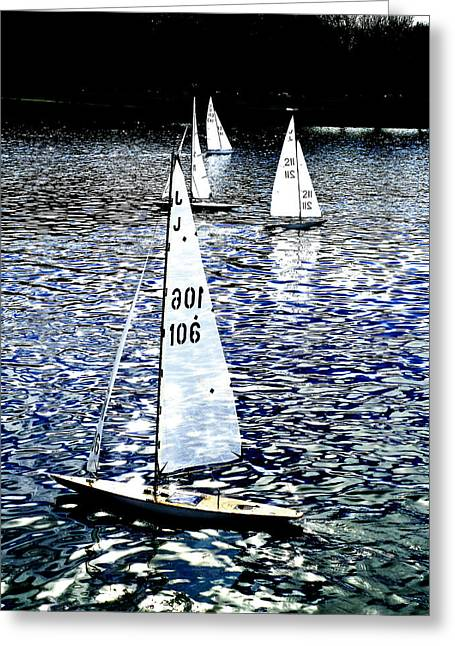 Sailing On Blue Greeting Card by Steve Taylor