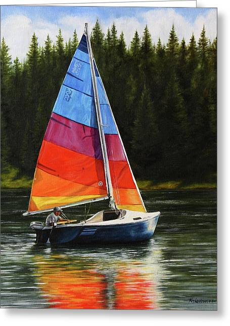 Sailing On Flathead Greeting Card
