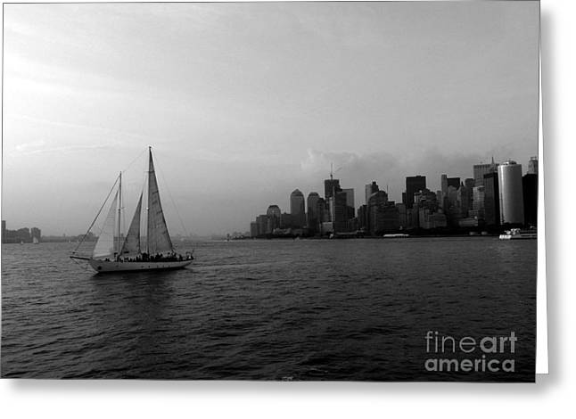 Sailing On The Hudson Greeting Card by Avis  Noelle