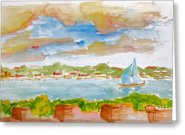 Sailing On The River Greeting Card