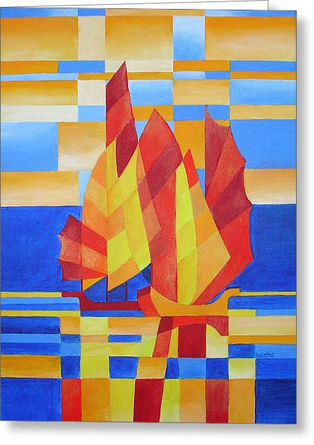 Greeting Card featuring the painting Sailing On The Seven Seas So Blue by Tracey Harrington-Simpson