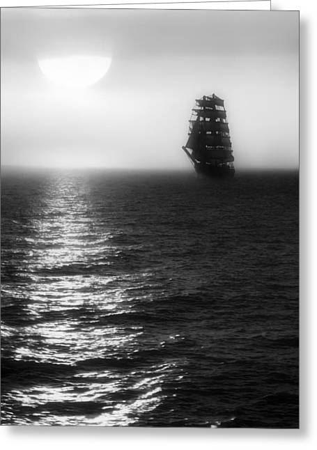 Sailing Out Of The Fog - Black And White Greeting Card