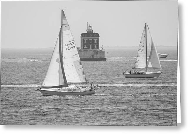 Sailing Past Ledge Light - Black And White Greeting Card
