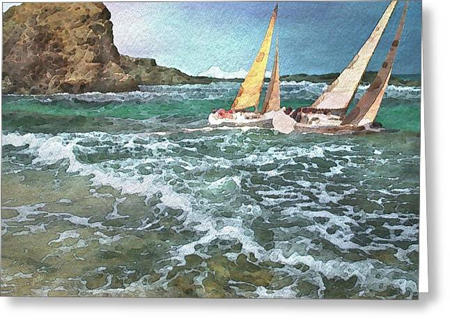 Sailing Past The Rock Greeting Card by Philip White