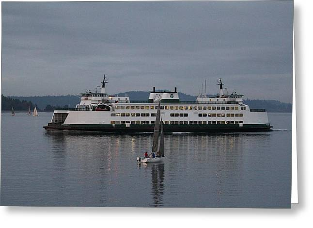Greeting Card featuring the photograph Sailing Regatta And Issaquah Ferry by E Faithe Lester