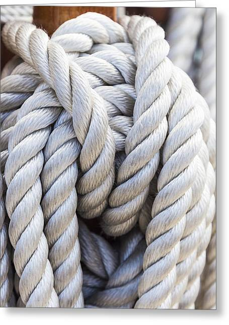 Greeting Card featuring the photograph Sailing Rope 1 by Leigh Anne Meeks