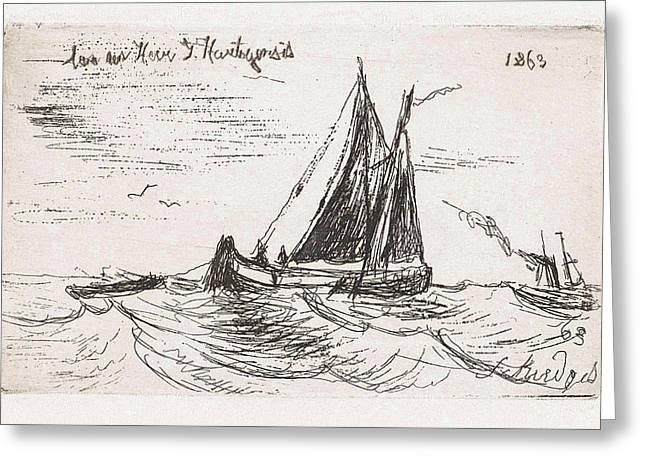 Sailing Ship At Sea, Print Maker Petrus Paulus Schiedges Greeting Card