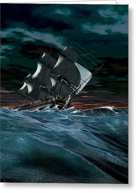 Sailing Ship In Rough Weather Greeting Card by Mikkel Juul Jensen