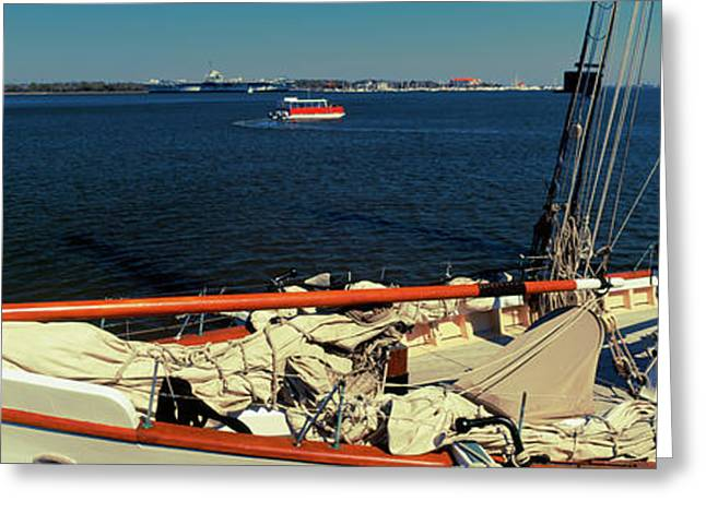 Sailing Ship In The Ocean, Charleston Greeting Card by Panoramic Images