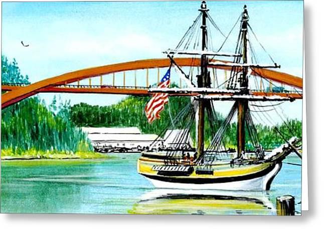 Sailing Ship Lady Washington In Laconner Washington Greeting Card