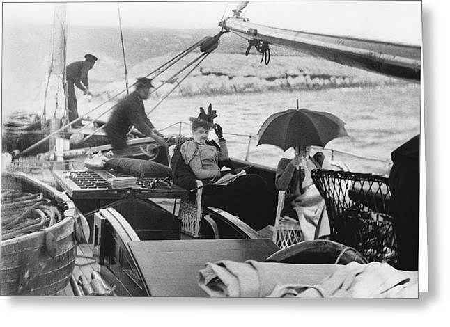 Sailing Ship Women Passengers Greeting Card by Underwood Archives