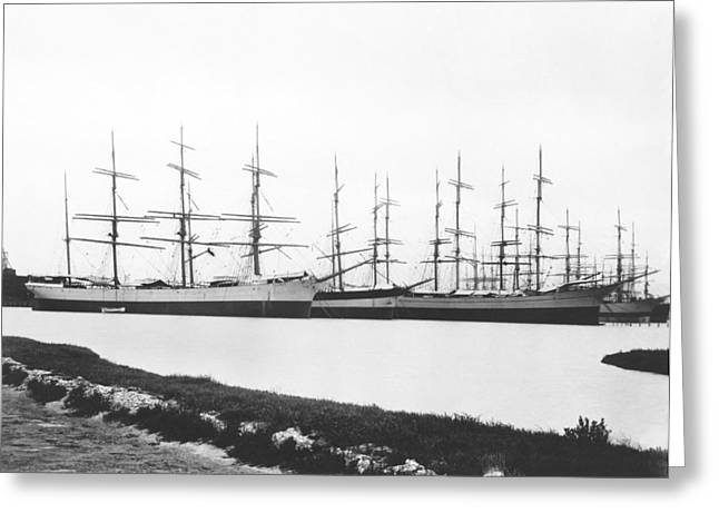 Sailing Ships In A Harbor Greeting Card by Underwood Archives