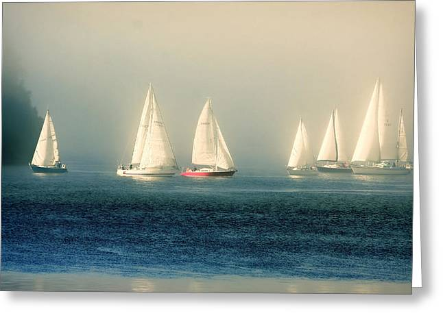 Sailing The Deep Blue Sea Greeting Card by Peggy Collins