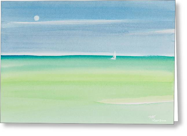 Sailing The Keys Watercolor Painting Greeting Card by Michelle Wiarda