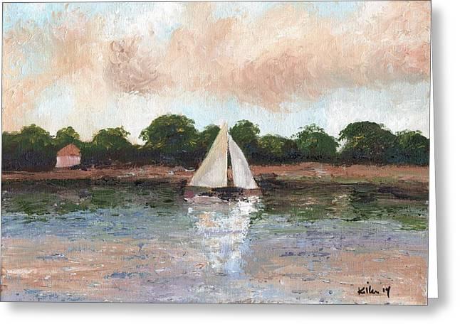 Sailing The Lagoon Greeting Card