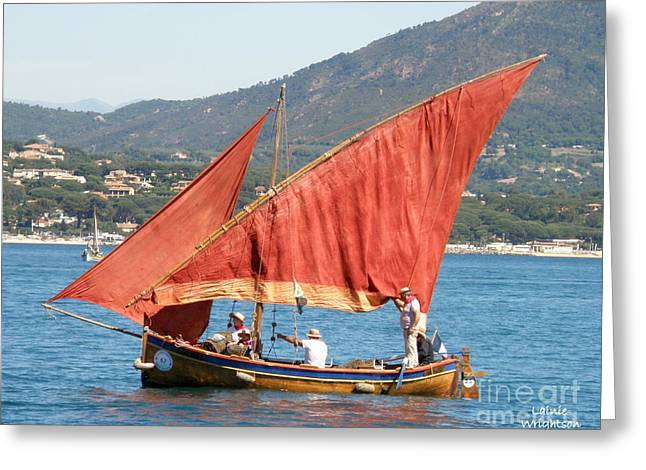 Sailing The Mediterranean Greeting Card by Lainie Wrightson