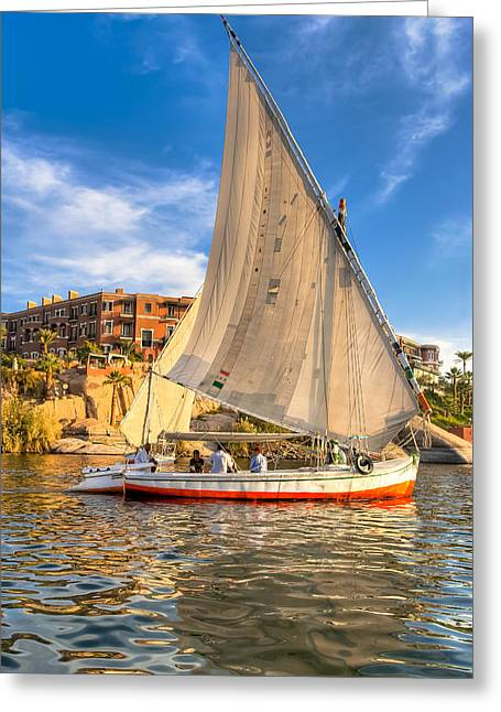 Sailing The Nile On A Beautiful Felucca Greeting Card by Mark E Tisdale