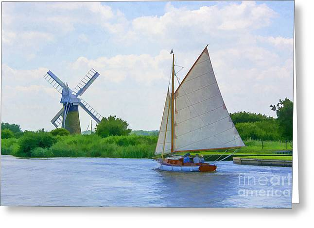 Sailing The Norfolk Broads Greeting Card by Chris Thaxter