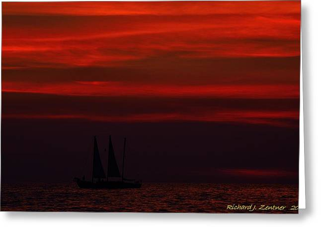 Greeting Card featuring the photograph Sailing Through The After Glow by Richard Zentner