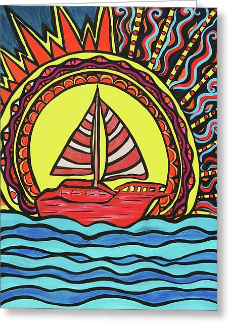 Sailing To The Sun Greeting Card by Lorinda Fore