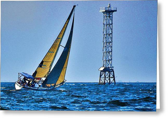 Sailing Towards The Tower Greeting Card by Pamela Blizzard