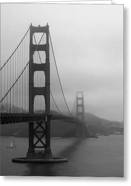 Sailing Under The Golden Gate Bridge Bw Greeting Card