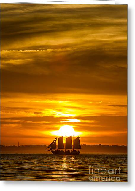 Sailing Yacht Schooner Pride Sunset Greeting Card