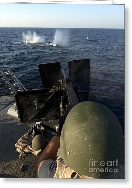 Sailor Fires A .50-caliber Machine Gun Greeting Card