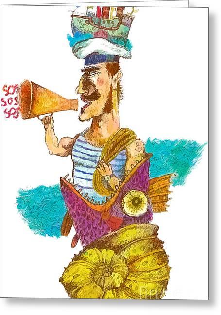 Sailor Man In Distress. Fantastic Greeting Card