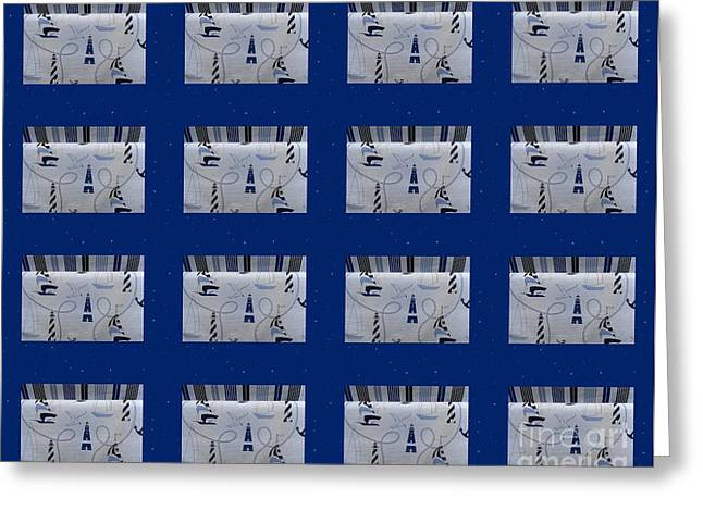 Red And White Quilt Greeting Cards - Nautical Quilt with Blue Sashing Greeting Card by Barbara Griffin