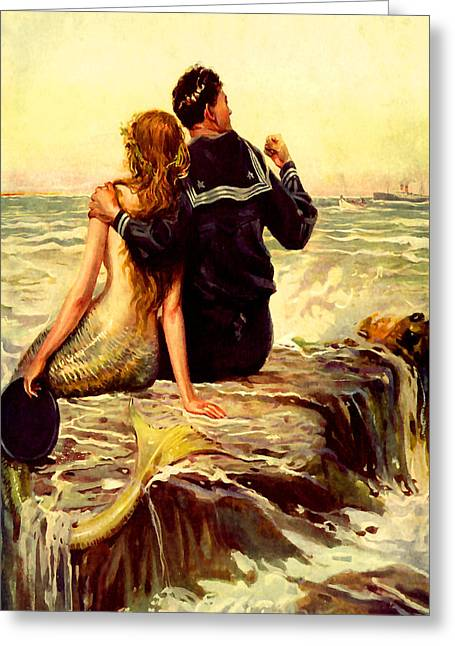 Mermaid And Sailor At Sunset - At The Beach America Greeting Card by Private Collection