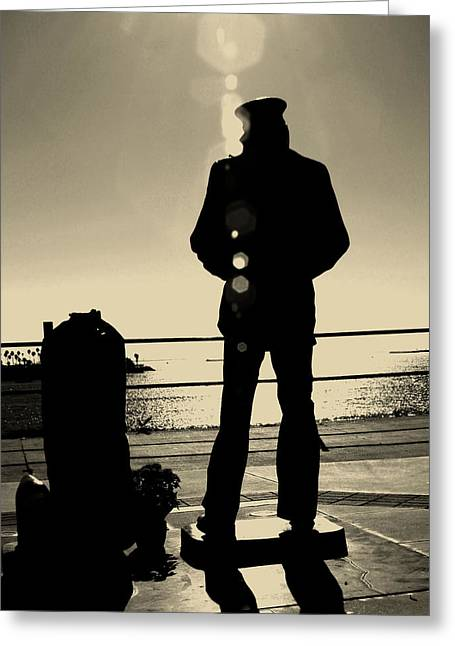 Sailor Statue Over Long Beach Harbor Greeting Card