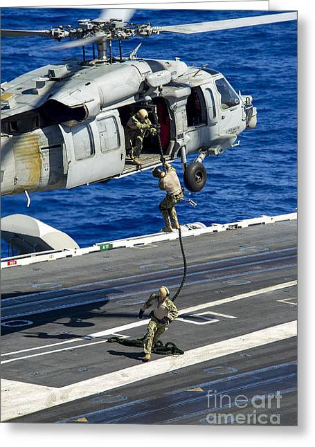 Sailors Conduct A Fast-rope Exercise Greeting Card
