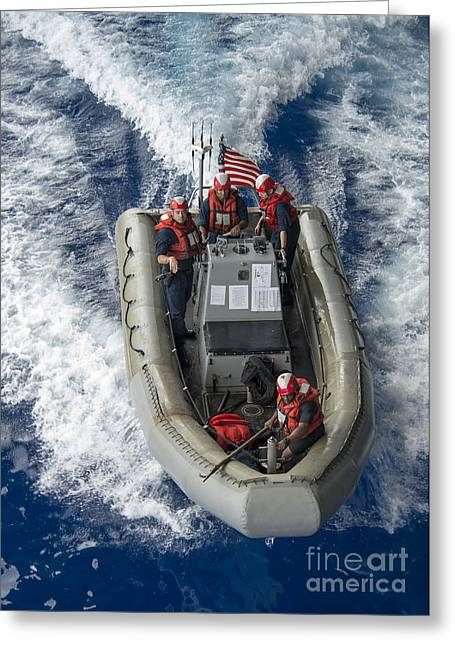 Sailors Conduct Man Overboard Training Greeting Card by Stocktrek Images