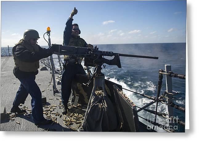 Sailors Fire A .50-caliber Machine Gun Greeting Card