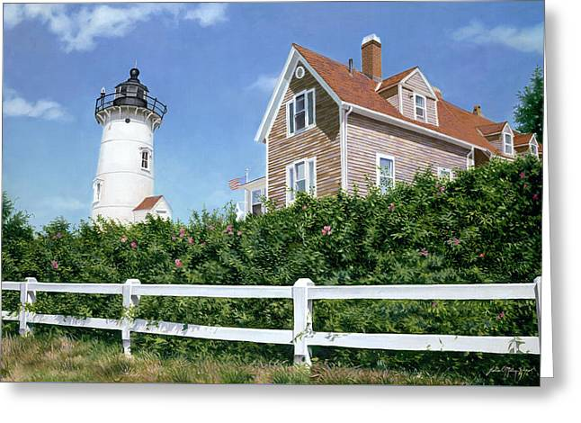 Sailors Gift - Nobska Lighthouse Greeting Card by Julia O'Malley-Keyes
