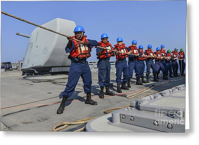 Sailors Heave A Line During A Man Greeting Card by Stocktrek Images