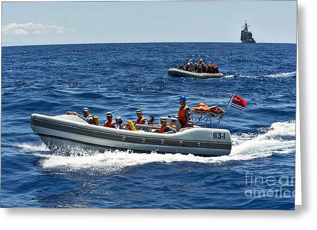 Sailors In Ridged-hull Inflatable Boats Greeting Card by Stocktrek Images