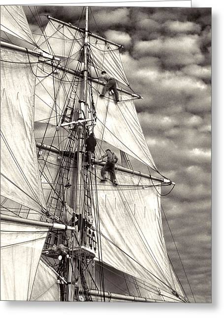 Sailors In Rigging Of Tall Ship Greeting Card by Cliff Wassmann