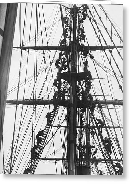 Sailors In The Rigging Greeting Card by Underwood Archives