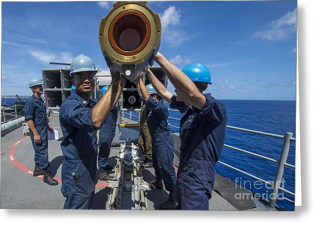 Sailors Load Rim-7 Sea Sparrow Missiles Greeting Card by Stocktrek Images