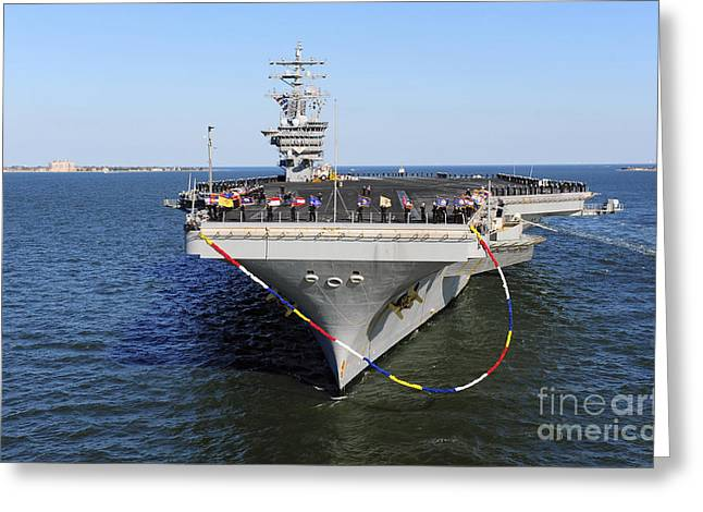 Sailors Man The Rails Aboard Uss Dwight Greeting Card by Stocktrek Images