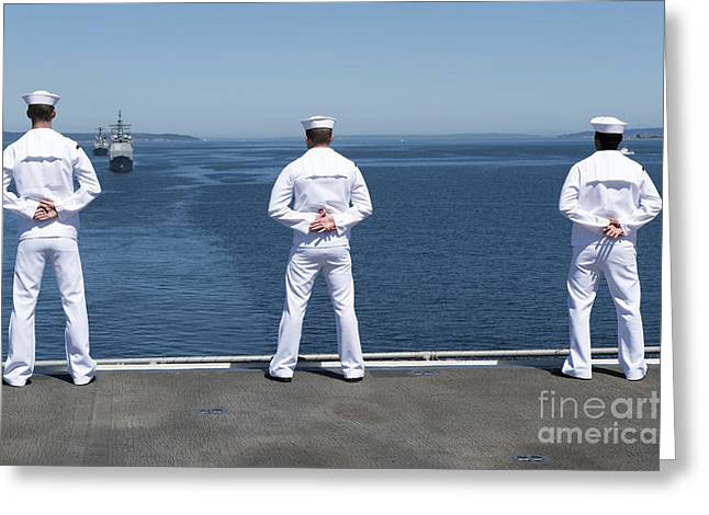 Sailors Man The Rails Aboard Uss Essex Greeting Card by Stocktrek Images