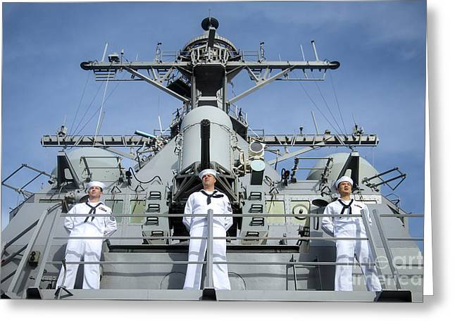 Sailors Man The Rails Aboard Uss John Greeting Card by Stocktrek Images