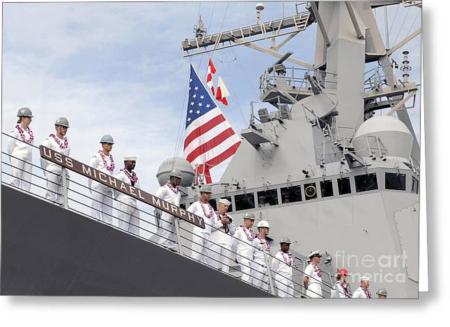 Sailors Man The Rails Aboard Uss Greeting Card by Stocktrek Images
