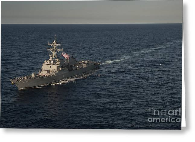 Sailors Man The Rails Of Uss Stockdale Greeting Card by Stocktrek Images
