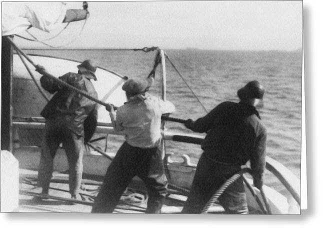 Sailors Pulling Rope Greeting Card
