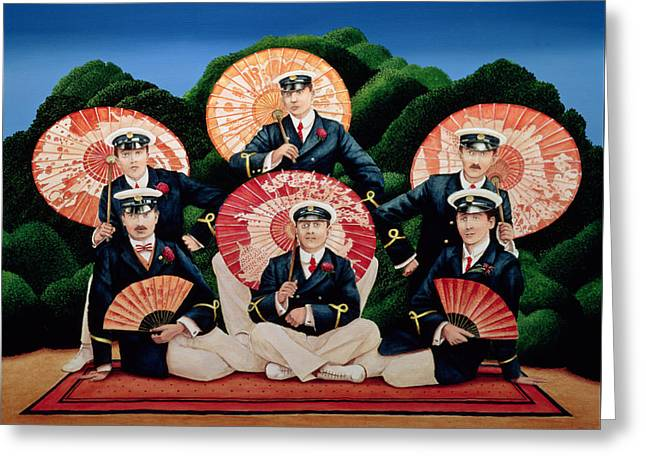 Sailors With Umbrellas Greeting Card by Anthony Southcombe