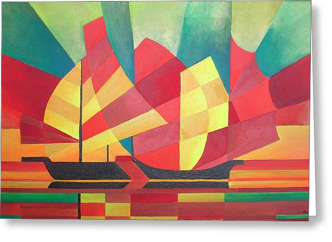 Greeting Card featuring the painting Sails And Ocean Skies by Tracey Harrington-Simpson